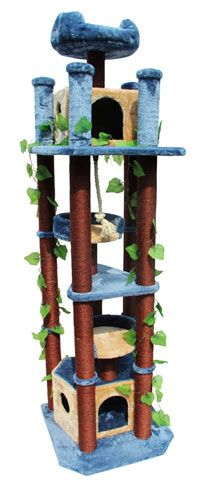 Huge Realistic Cat Tree with Two Houses