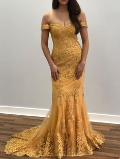 Off The Shoulder Lace Prom Dress, Mermaid Sexy Evening Dress With Sleeve by olesaweddingdresses, $142.68 USD Gold Evening Dresses, Sexy Evening Dress, Evening Dresses With Sleeves, Formal Dresses, Party Dresses, Mermaid Prom Dresses, Gold Dress, Different Fabrics, Lace Applique
