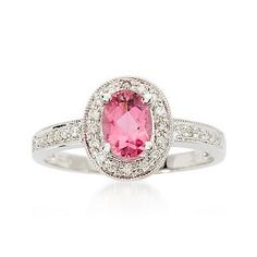 Ross-Simons - .75 ct. t.w. Pink Tourmaline and .10 ct. t.w. Diamond Ring in 14kt White Gold - #482808