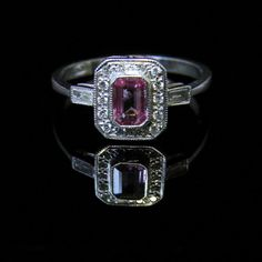 80b44d52649854 Antique Art Deco Pink Sapphire Diamond Ring 18ct White Gold   eBay Bague  Art Déco,