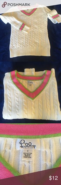 Lilly Pulitzer White Cotten Sweater size S With pink and green trim. Good condition Lilly Pulitzer Sweaters V-Necks