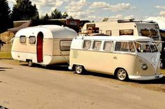 VW Bus with vintage camper
