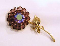 Vintage Amethyst Purple Rhinestone Flower Pin by JuleesTreasures
