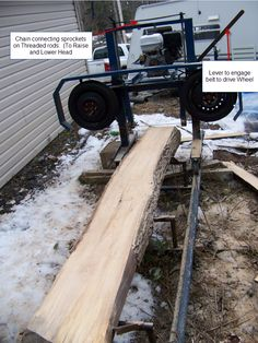 first test run with the portable sawmill