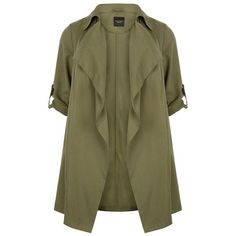 Plus Size Khaki Waterfall Trench Coat (£40) ❤ liked on Polyvore featuring outerwear, coats, jackets, trench coat, brown coat, long sleeve coat, womens plus size coats and khaki coat