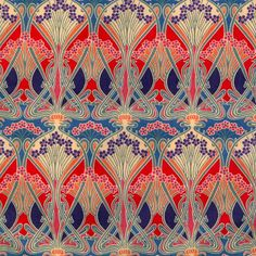 """The """"Ianthe"""" pattern was originally created in 1900 by French designer R. Beauclair and was used by the company Liberty of London. The print comes in many color combinations and is still used for fabric designs today. source. Liberty Of London Fabric, Liberty Print, Liberty Fabric, Textiles, Textile Patterns, Art Patterns, Art Deco, Art Nouveau Design, Fabric Wallpaper"""