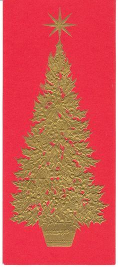 Vintage Christmas Card Gold Tree on Red Hallmark Slim Jim Mid Century | eBay