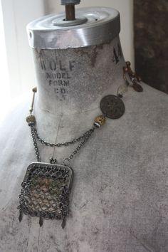 Keepsake--- Antique Assemblage Necklace Chain Maille Purse