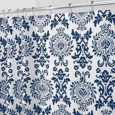 InterDesign Damask Fabric Shower Curtain, Various Sizes, Blue