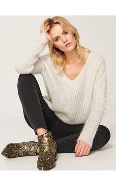 Sweter z luźnym splotem, Swetry, szary, RESERVED