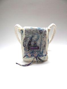Felted handbag, purse, handfelted shoulderbag, handmade felt bag, nunofelt natural white wool with printed cotton fabric, silk fibers. SALE!