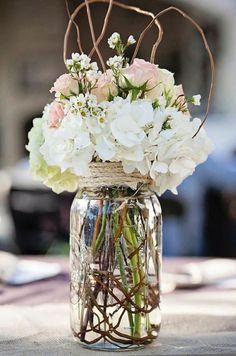 A rustic diy vintage centerpieces, wedding centerpieces, wedding decoration Mason Jar Flower Arrangements, Wedding Centerpieces Mason Jars, Vintage Centerpieces, Mason Jar Flowers, Wedding Flower Arrangements, Flower Centerpieces, Wedding Bouquets, Floral Arrangements, Wedding Decorations