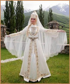 Traditional Circasian wedding dress. cloting style: late 19th century.