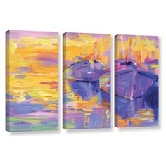 Boats Impressionism Harbor Colorful by Svetlana Novikova 3 Piece Painting Print on Gallery-Wrapped Canvas Set
