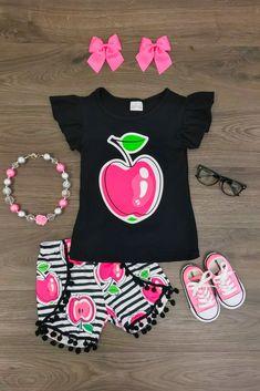 Hot Pink Apple Pom Pom Short Set
