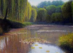 Waterlilie Pond Oil on linen, 70 x 100 cm Private collection Impressionist Paintings, Landscape Paintings, Mountain Paintings, Countryside, River, Artwork, Outdoor, Image, Collection