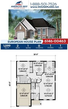 We have the perfect European design for you and your family! Check out Plan 6146-00463 offering 1,099 sq. ft., 2 bedrooms, 1 bathroom, a front porch and a front entry garage. #europeanhomes European Plan, European House Plans, Best House Plans, Front Entry, Front Porch, Strawberries Romanoff, Build Your Dream Home, Building Materials, Square Feet