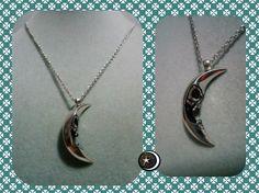 Colgante de acero de Luna Calaverica con cadena de acero