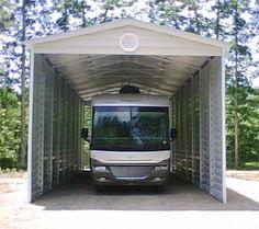 Bradley Mighty Steel RV Garage for sale, RV Shelter pricing Rv Carports, Metal Carports, Carport Designs, Garage Design, Carport Ideas, Garage Ideas, Yard Ideas, Rv Shelter, Pole Barn Kits
