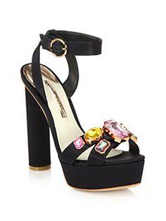 Sophia Webster - Amanda Bejeweled Satin Platform Sandals