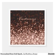 Personalized Rose Gold Sparkle Napkins Christmas Card Holders, Christmas Cards, Ecru Color, Gold Sparkle, Party Items, New Years Party, Cocktail Napkins, Favor Boxes, Paper Napkins