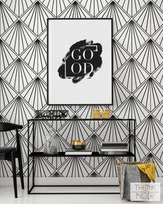 Art Deco Wallpaper, Regular or Self Adhesive Removable Wallpaper, Geometric Wall Mural - ThinkNoir Wallpaper with Art Deco pattern is ready to make any room unique and trendy!