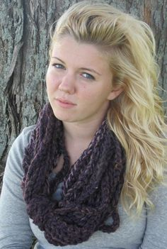 Cozy in the Cold - the Perfect Purple Infinity Scarf - Crochet Chain Scarf, Infinity Scarf. $23.00, via Etsy.