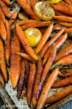 Tuscan-Style Roasted Carrots - A Family Feast® - Tuscan-Style Roasted Carrots – Simple and flavorful, these roasted carrots are addictively delici - Carrot Recipes, Vegetable Recipes, Vegetarian Recipes, Cooking Recipes, Healthy Recipes, Meal Recipes, Turnip Recipes, What's Cooking, Pumpkin Recipes
