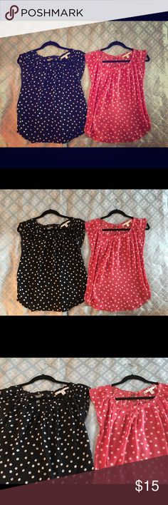 LC Lauren Conrad Pleated Shell Dot Blouses XS Lot Set of two LC by Lauren Conrad Pleated polka dot shells. These shirts are so silky, flowy and comfortable!  Size XS, but I am a medium and they fit fine. The pink one had a bit of surgery as you can see in the picture. It was secured in one spot and missing some thread in another. Doesn't affect wearability of item. LC Lauren Conrad Tops Blouses