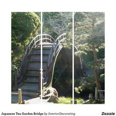 Shop Japanese Tea Garden Bridge Triptych created by InteriorDecorating. Triptych Wall Art, Panel Wall Art, Wall Art Sets, Garden Bridge, Hanging Chair, Illusions, Outdoor Structures, Japanese, Tea