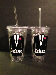 Personalized 16oz  Wedding Tumblers Ring Bearer Mini Groom