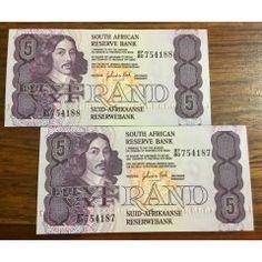 GPC DE KOCK  ~  2 x consecutive UNC Five Rand Bank Notes  - See Photos