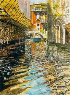 """rio malpaga 1 venice 30"""" x 22' micheal zarowsky / watercolour on arches paper (private collection)"""