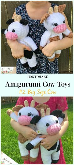 Crochet Big Size Cow  Amigurumi Free Pattern- #Amigurumi #Cow Toy Plushies Free Crochet Patterns