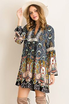 Paisley Dreams Dress - Charcoal - Blue Chic Boutique  - 2