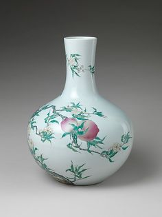 Vase with Peaches and Pomegranates. Qing dynasty (1644–1911), Qianlong mark and period (1736–95). 18th century. China. The Metropolitan Museum of Art, New York. Mr. and Mrs. Isaac D. Fletcher Collection, Bequest of Isaac D. Fletcher, 1917 (17.120.194) #spring