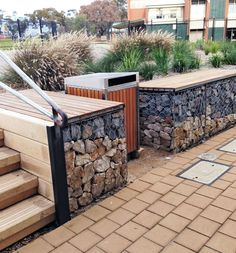 Gabion seating installed by Prospect Contractors at Flagstaff Hill Primary School.