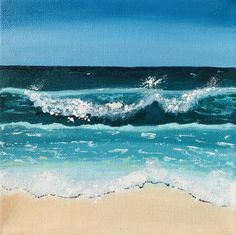 Beach With Blue Sky, Sand & Waves Painted In Acrylic Gallery Wrapped Canvas Seascape Paintings, Landscape Paintings, Beach Paintings, Ocean Art, Ocean Waves, Art Plage, Watercolor Scenery, Beach Illustration, Sand Painting