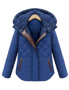 Blue Hooded Diamond Patterned Slim Coat 43.78