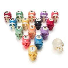 Handmade Billiard Ball Skull Set made by Lee Downeyhttp://www.skullspiration.com/handmade-billiard-ball-skull-set/