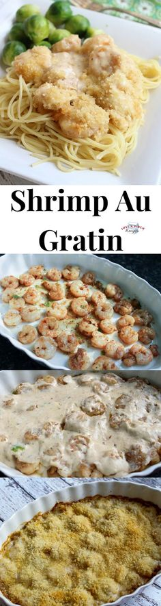 Rich creamy cheesy Rich creamy cheesy and buttery this shrimp au gratin is definitely delicious! Super simple to make it's impressive when presented. The sauce just melts in your mouth and Panko crumbs on top add a nice crunchy texture. Best Shrimp Recipes, Fish Recipes, Seafood Recipes, Cheese Recipes, Recipies, Fish Dishes, Seafood Dishes, Pasta Dishes, Main Dishes