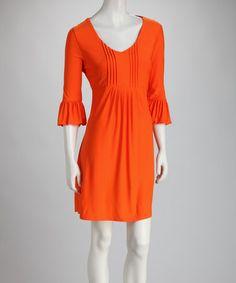 Orange Bell-Sleeve Dress #zulily #zulilyfinds