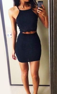 #summer #fashion / two piece black outfit