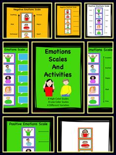 Fun, Colorful Scales To Help Children Identify And Discuss Emotions. I have made them in 2 sets (High Color and Low Color) and in 4 varieties to offer you choice and flexibility in how you wish to use them. Laminate these and have them for years to come. So many ways to use these. Have Fun!