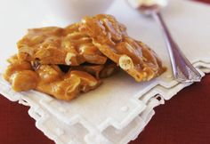 This cashew brittle is made with corn syrup and sugar and butter and cashews. This is a delicious alternative to peanut brittle.