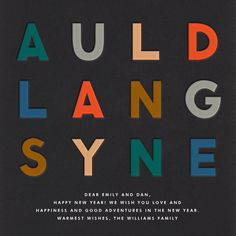 """Auld Lang Syne"" Card, by The Indigo Bunting, Paperless Post. Children's Dentistry at Hausman Village, pediatric dentist in San Antonio, TX @ www.txkidds.com"