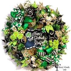 St. Patrick's Day Burlap Mesh Front Door Wreath, St. Paddy's Day Wreath, St. Patrick's Day Decorations, Irish Shamrock Clover Decor by FancyWreathLady on Etsy https://www.etsy.com/listing/508833361/st-patricks-day-burlap-mesh-front-door