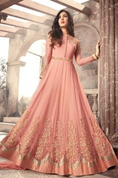 Sonal Chauhan Pink Color Net Designer Anarkali Suit latest designer silk punjabi, party wear georgette salwar suit, and in all fabrics available at VJV Costumes Anarkali, Anarkali Dress, Anarkali Suits, Anarkali Bridal, Lehenga Choli, Pakistani Outfits, Indian Outfits, Tela Hindu, Abaya Fashion