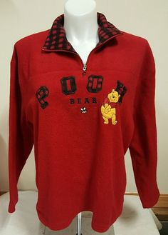 Woman's Disney Winnie The Pooh Bear Fleece Sweater 1 4 Zip Size Large Red | eBay