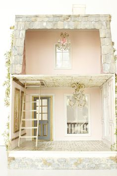 This listing is Reserved for FELECE. Please do not purchase unless you are her. Thank you so much! First payment $100. $599+$55 shipping=$654 total La Vie En Rose is a custom, one of a kind dollhouse made by hand. The house has 3 battery operated lights: a porch light and 2 chandeliers inside. The light switch and battery are hidden in the chimney. This house is elegant Paris style. The interior is a soft peachy pink painted plaster. There are gold trims and white trims inside. Downstairs…